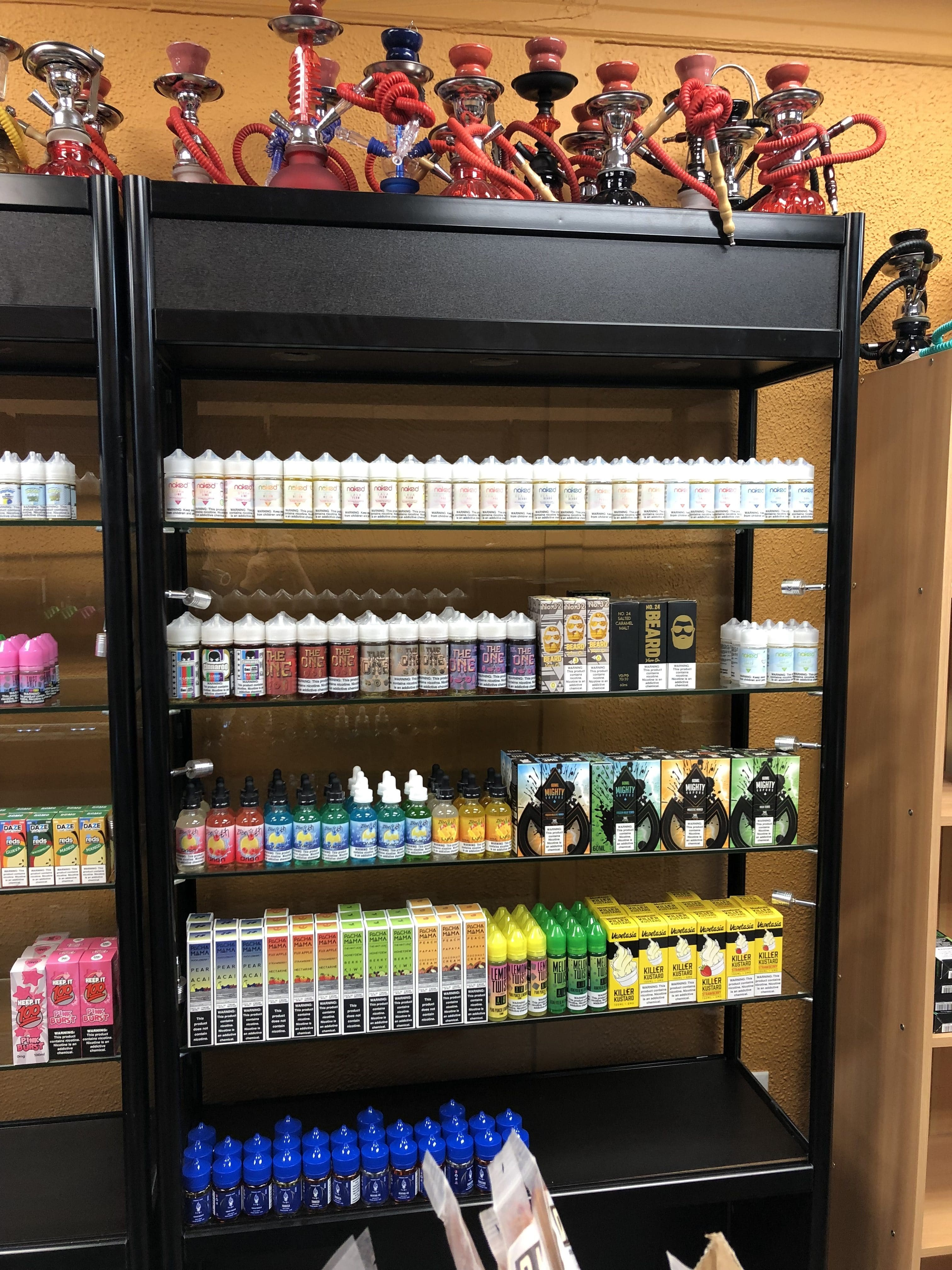Vape Juice wall in Paterson with mini Hookahs